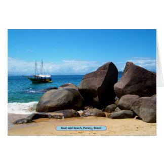 Boat and beach, Paraty, Brazil Card