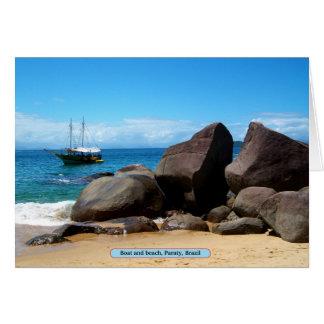 Boat and beach, Paraty, Brazil Card
