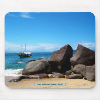 Boat and beach, Paraty, Brazil Mouse Pad