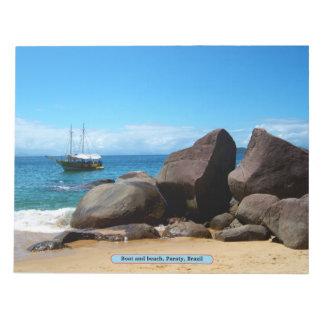 Boat and beach, Paraty, Brazil Notepad