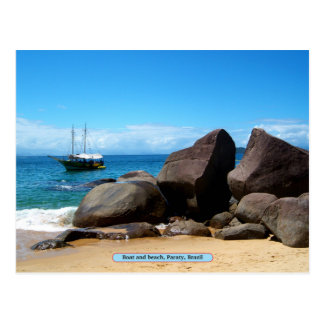 Boat and beach, Paraty, Brazil Postcard