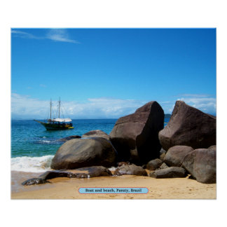 Boat and beach, Paraty, Brazil Poster