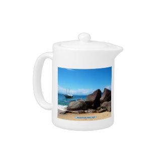 Boat and beach, Paraty, Brazil Teapot