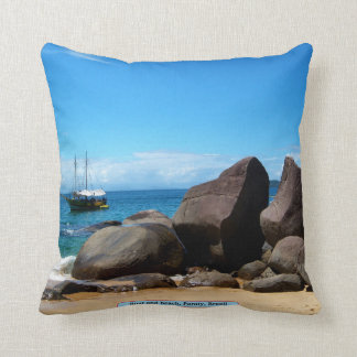 Boat and beach, Paraty, Brazil Throw Pillow