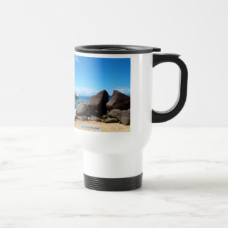 Boat and beach, Paraty, Brazil Travel Mug