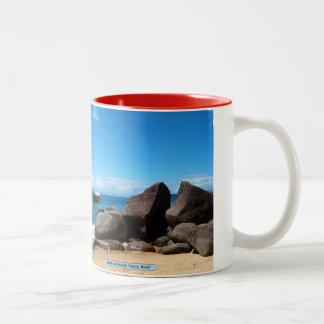 Boat and beach, Paraty, Brazil Two-Tone Coffee Mug