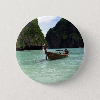Boat and Beach Pinback Button