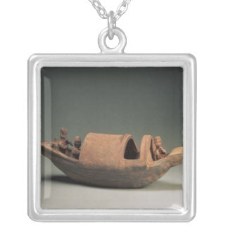 Boat and crew, tomb artefact silver plated necklace
