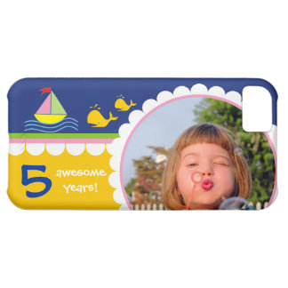 Boat and cute whales 5th birthday photo case cover for iPhone 5C