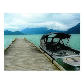 Boat and Dock at Lake Postcard
