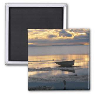 Boat and Heron 2 Inch Square Magnet