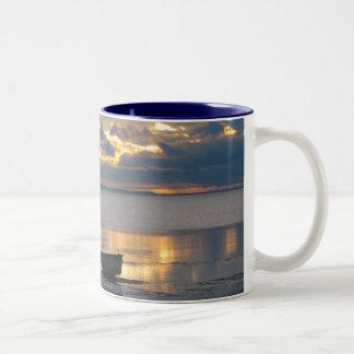 Boat and Heron Two-Tone Coffee Mug