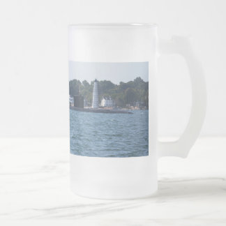 Boat and Lighthouse Frosted Glass Beer Mug