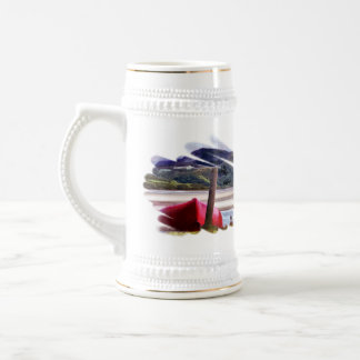 BOAT AND MOUNTAIN LANDSCAPE 18 OZ BEER STEIN
