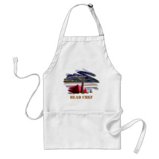 BOAT AND MOUNTAIN LANDSCAPE STANDARD APRON