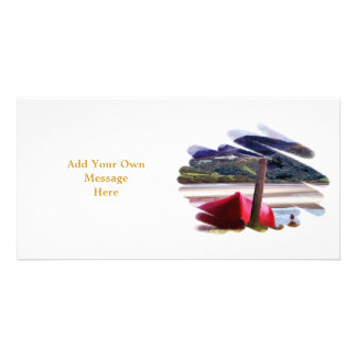 BOAT AND MOUNTAIN LANDSCAPE PHOTO CARD