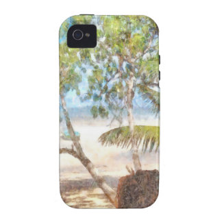 Boat and trees at beach iPhone 4/4S case