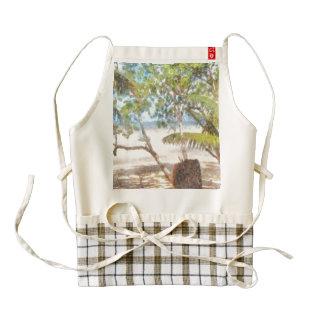 Boat and trees at beach zazzle HEART apron
