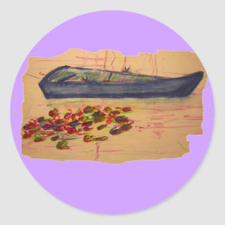 boat and water lilies torn sketch classic round sticker