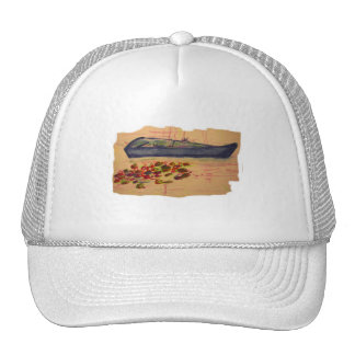 boat and water lilies torn sketch trucker hat