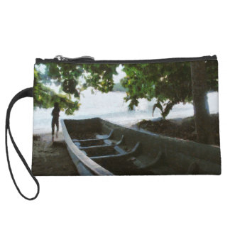 Boat at beach wristlet clutches