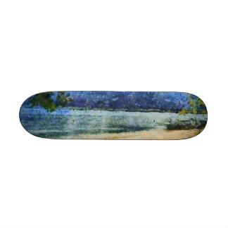 Boat at beach skate boards