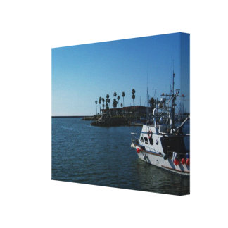 Boat At Oceanside Wrapped Canvas Stretched Canvas Prints