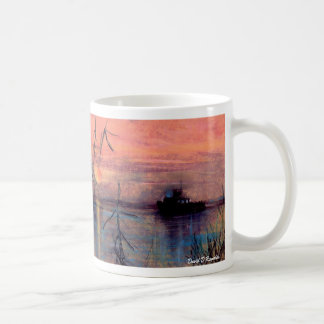 Boat At Sunset Classic White Coffee Mug