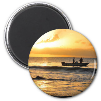 Boat at sunset magnet