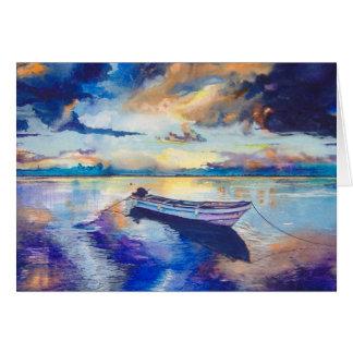 Boat at Sunset Original Watercolour Painting Card