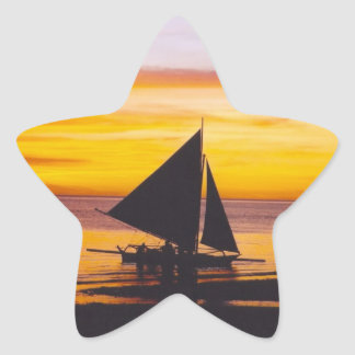 Boat at sunset star sticker