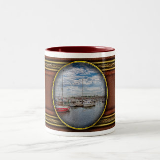 Boat - Baltimore, MD - One fine day in Baltimore Two-Tone Coffee Mug