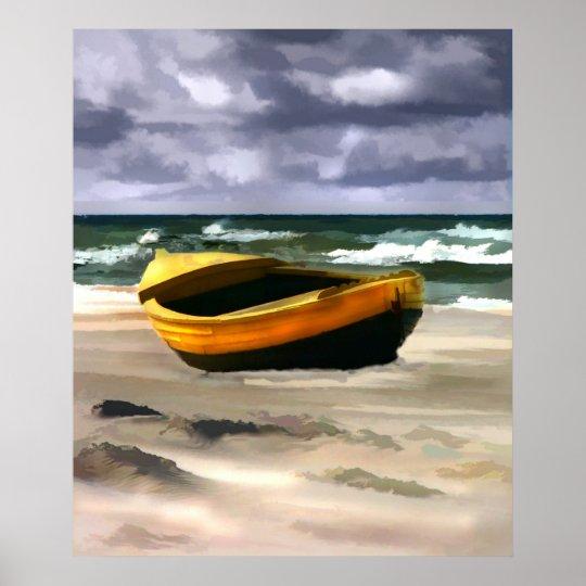 Boat before Ocean Storm Poster