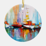 Boat berth Double-Sided ceramic round christmas ornament