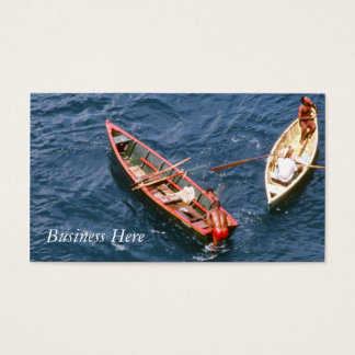 Boat Blue Ocean Retro Fishing Boats Men Swimming Business Card