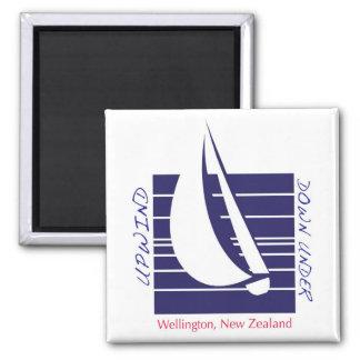 Boat Blue Square_UpDown Wellington magnet