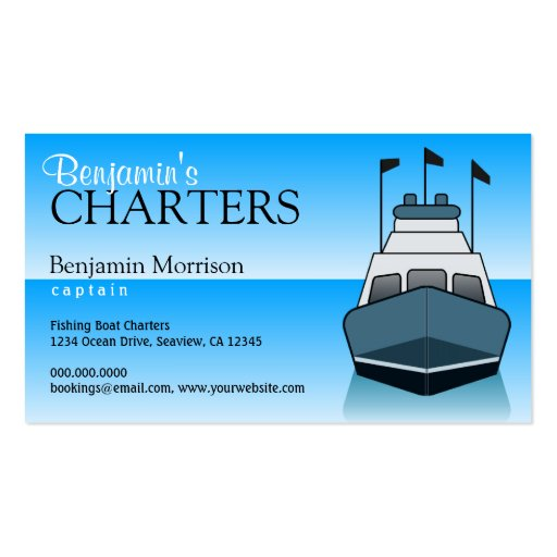 Fishing charter service boat boating business card for Fishing charter business cards