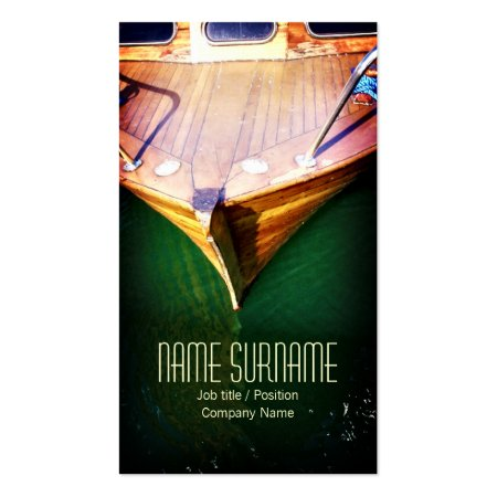 Bow of an Old Wooden Boat on Deep Green Water Boating Business Cards