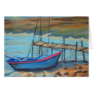 Boat by old pier card