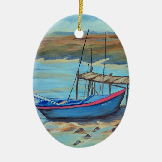 Boat by old pier ceramic ornament