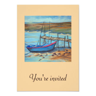 """Boat by old pier 5"""" x 7"""" invitation card"""