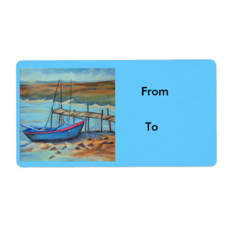 Boat by old pier label