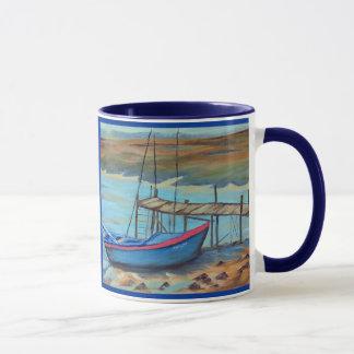 Boat by old pier mug
