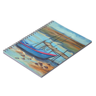 Boat by old pier notebook