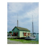 Boat By Oyster Shack, Mystic CT Poster