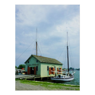 Boat By Oyster Shack Poster