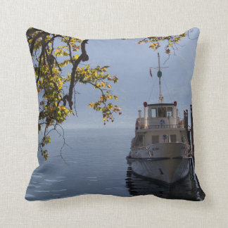 Boat by the Pier Throw Pillow