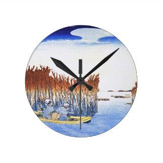 Boat by the Reeds Japanese Woodblock Art Ukiyo-E Wall Clock
