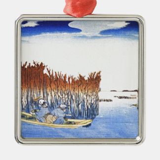 Boat by the Reeds Japanese Woodblock Art Ukiyo-E Metal Ornament