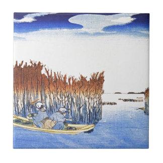 Boat by the Reeds Japanese Woodblock Art Ukiyo-E Tile